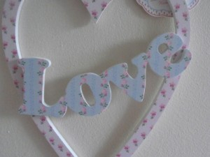 vintage hanging love sign